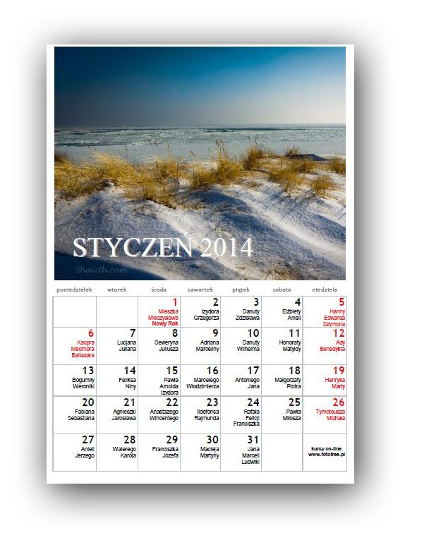 darmowy kalendarz 2012 z imionami i fotografiami do pobrania i wydruku fotofree.pl free Marek Kloska za darmo